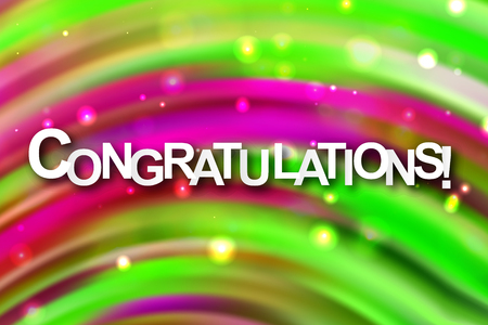 Congratulations. Bright modern design. Colorful gradient paint brush. spectral design. Acrylic paint. Spot. For printing on cards 向量圖像