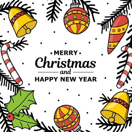 New Year. Christmas. Hand drawing. New Year decoration. Christmas tree 2019. Circle. Holiday mood. For printing on cards, print. For design. Standard-Bild - 127340287