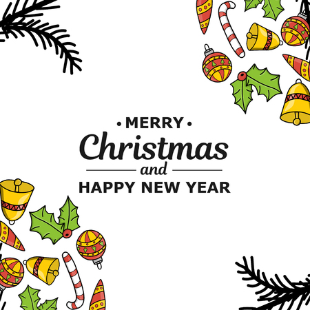New Year. Christmas. Hand drawing. New Year decoration. Christmas tree 2019. Circle. Holiday mood. For printing on cards, print. For design.