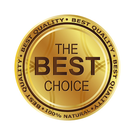 Golden medal. Best Choice First place. The best product. 100 percent natural. For your design. Merit.