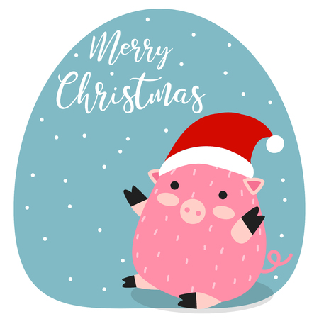 Merry Christmas. Pig. 2019. New Year. Funny, pretty. Hand drawing. Cartoon Print, for printing on cards. For design.