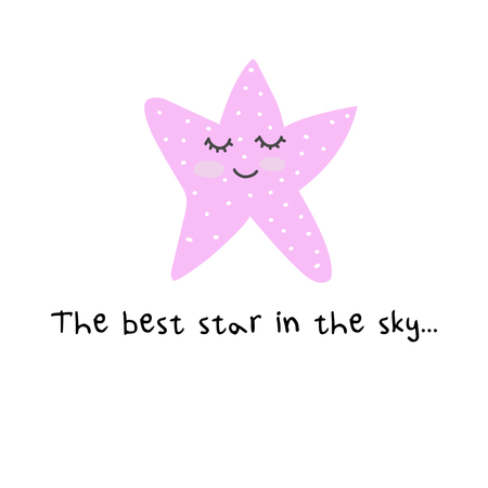 Cute. Stars. Motivation. Scandinavian style. Postcard. Bright children's design. Standard-Bild - 125194264