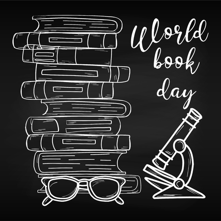 Training. World Book Day. April. Knowledge. Reading. World For your design Chalk board School Stok Fotoğraf - 124080210