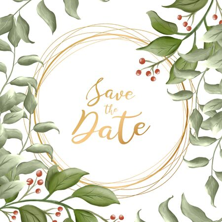 Save this date. Flower frame. For printing on postcards. Watercolor.