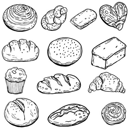 Seth baking. Bread. Isolated on a white background. Doodle style. Vetores