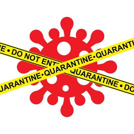 Quarantine. Signal, police tape. No entry. Coronavirus infection. Medical concept