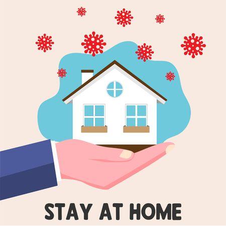Stay home icon. Epidemic coronavirus. Coronavirus covid-19. Technology communication background.