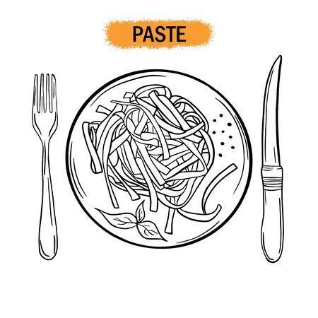 Paste. Restaurant food. Hand drawing. For your design.