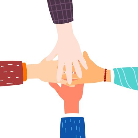 Friendship of Peoples. Hands. Friendship concept. Modern flat style. For your design. Illustration