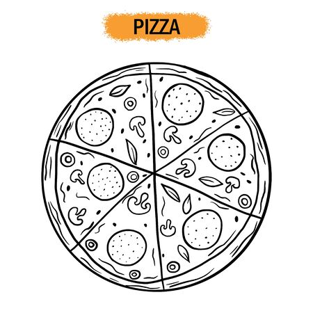 Pizza. Restaurant food. Hand drawing. For your design. Illustration