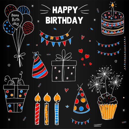 Happy Birthday. On the chalk board. Concept. Set. For your design. For greeting cards.