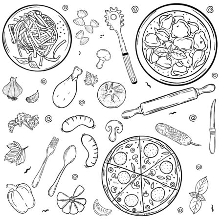 Restaurant food. Pizza, pasta. Set. Hand drawing. For your design.