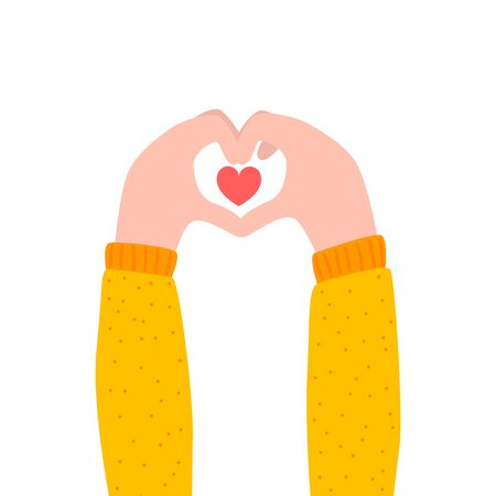 Hand holds a heart symbol. Love. Flat style. Bright modern design. Charity.