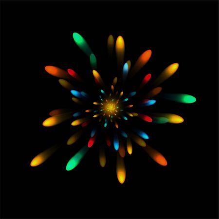 Realistic explosion. Fireworks. Bright flash. Celebration. For your design. Clipart Illustration