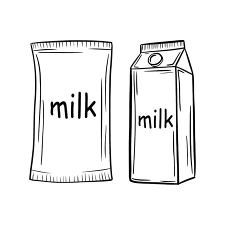 Hand drawing. Milk. Doodle style. Natural product. For your design.