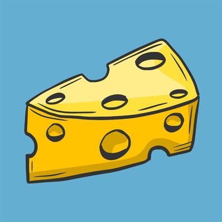 Hand drawing. Cheese. Doodle style. For your design. Illustration