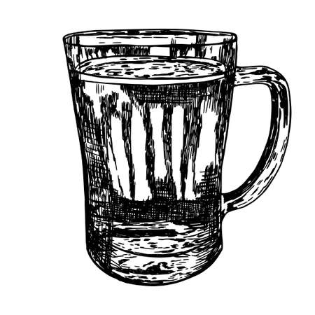 Sketch. Ink. Hand drawing. Mug of beer. Isolated object. Illustration