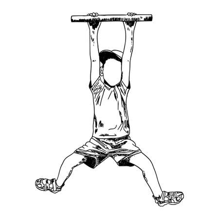 Sketch. Ink. Hand drawing. Boy. Child on the horizontal bar. Isolated object. Illustration