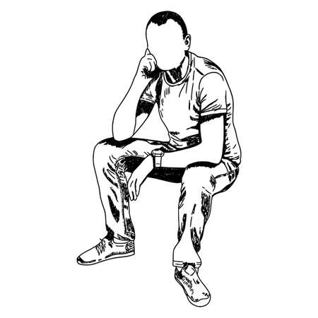 Sketch. Ink. Hand drawing. The guy is sitting. Isolated object.