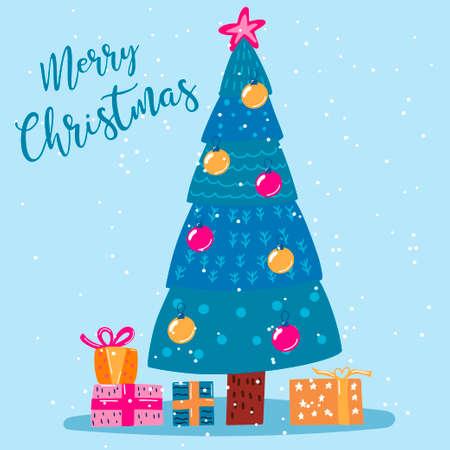 New Year card. Modern design. Christmas. Celebration. For your design. Illustration