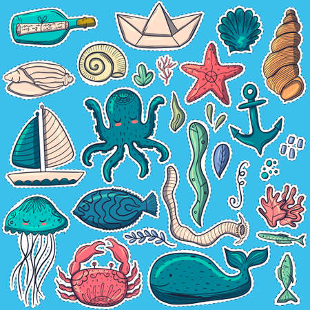 Marine inhabitants. Fish. Stickers. Cute characters in a modern style. For your design.