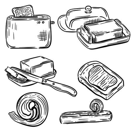 Set of butter sandwich. Hand drawing. Black and white style. For your design.
