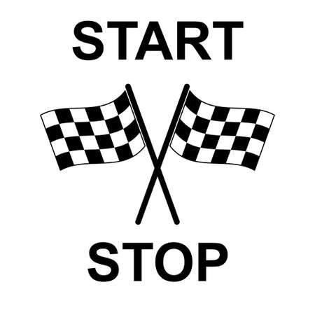Illustration with flag race. Vector sign. Flat pattern with black flag race on white background. White background. Finish line.
