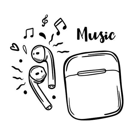 Retro doodle lettering with headphones sketch. Vector illustration icon. Grunge background. Vector art. Line symbol. Vector graphic. Vintage print. Illustration