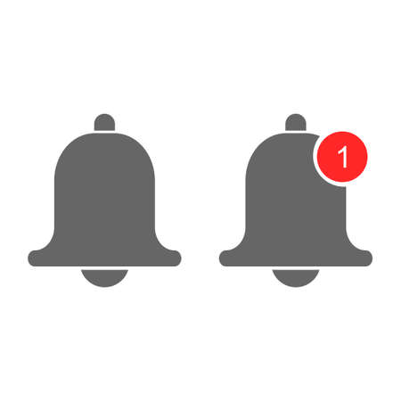 Flat red set. Phone icon vector. Vector illustration flat design. Notification bell icon. Clock icon vector. Web design. Icon template. Alarm clock. Design element.