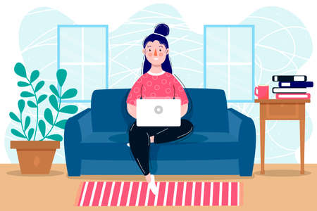Girl with laptop in flat style. Digital background. Study concept. Business people home work. Business idea concept. Home office concept.