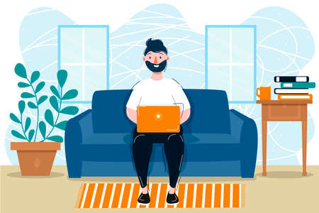 Men with laptop in flat style. Digital background. Study concept. Business people home work. Business idea concept. Home office concept.