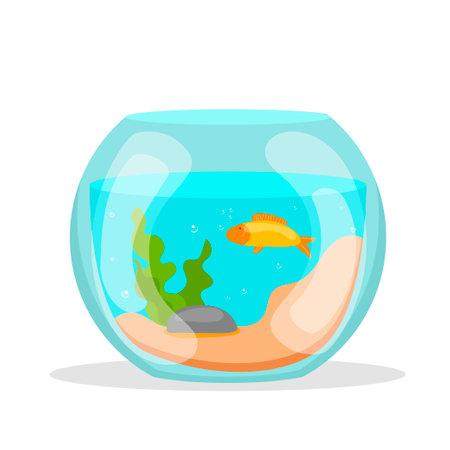 Golden aquarium. Vector illustration, cartoon set. Food illustration. Vector image. Icon set. Isolated flat vector illustration.
