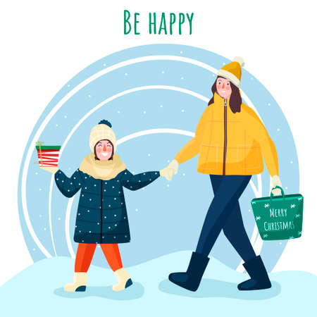 Happy people. Christmas party. Flat christmas card. Holiday winter design. Vector flat design. Christmas background. Illustration