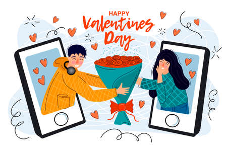 Happy valentines day. Couple of people in love. Hand drawn modern illustration for your postcards, banners.