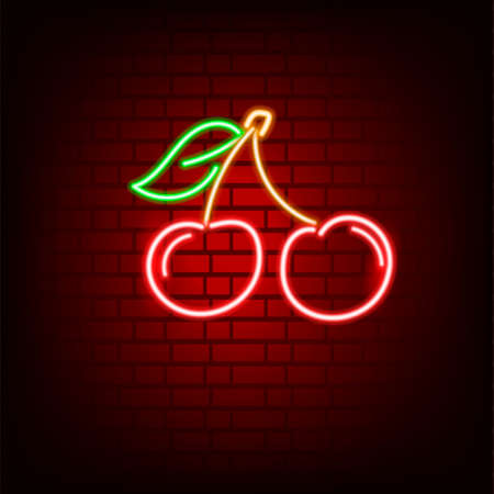 Neon sign. Cherry. On a dark brick background. For your design.