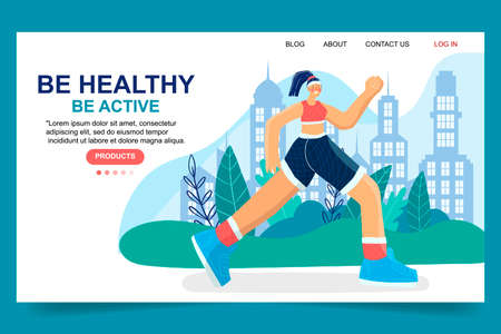 Girl jogging, running. Active, healthy lifestyle. Proper nutrition and sports. Hand drawn modern illustration for your postcards, banners.