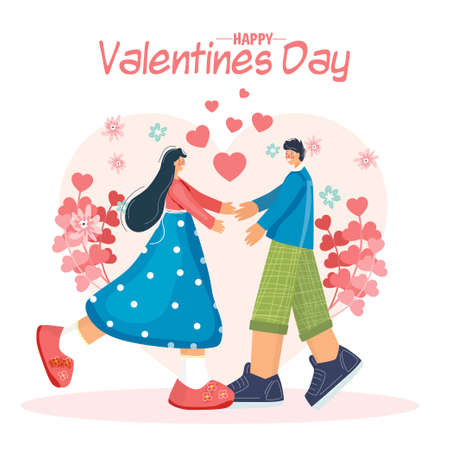 Valentines Day. A loving young couple. They hug each other. Heart. Celebration of declaration of love. People in modern flat style. Hand drawing. 矢量图像