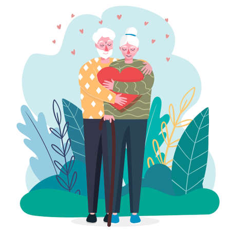 Valentines Day. An elderly couple in love. They hug each other. Heart. Celebration of declaration of love. People in modern flat style. Hand drawing. An old man.