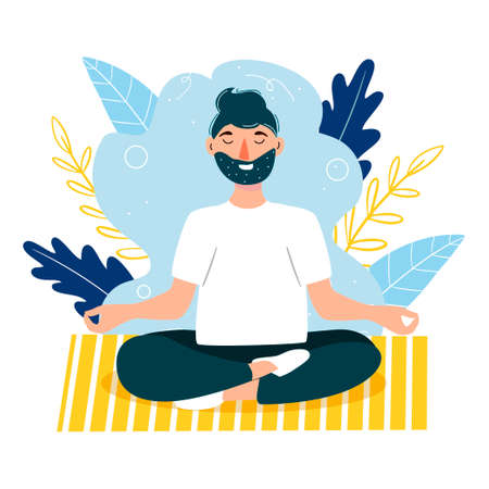 The man is meditating. Stay at home. Yoga. Sports activities. Vector illustration in a modern flat style.
