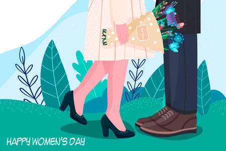 International Womens Day. March 8. Independence, equality. Women. Declaration of love. Flowers. Vector illustration in a modern style. Hand drawing.