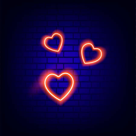 Heart. Neon sign. Bright. Brick wall. Icon. For your design.
