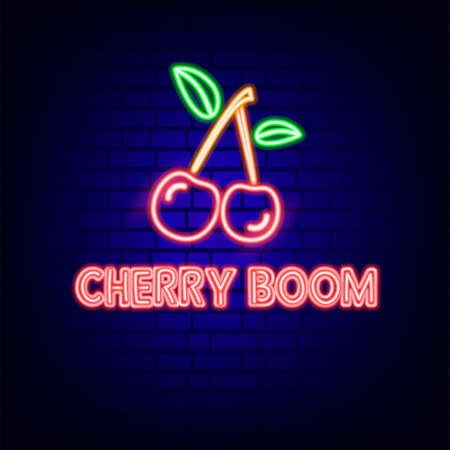 Cherry. Neon sign. Bright. Brick wall. Icon. For your design. 免版税图像