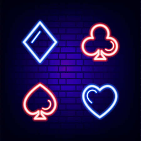 Suit for cards. Neon sign. Bright. Brick wall. Icon. For your design. 矢量图像