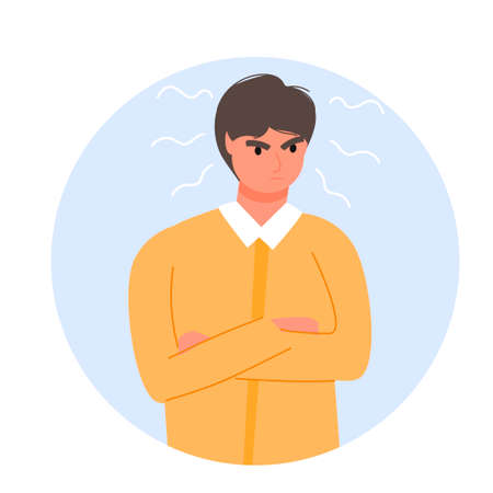 Outraged angry guy in flat modern style. Isolated on white background. Experiencing negative emotions. Anger. Disappointment. For your design.