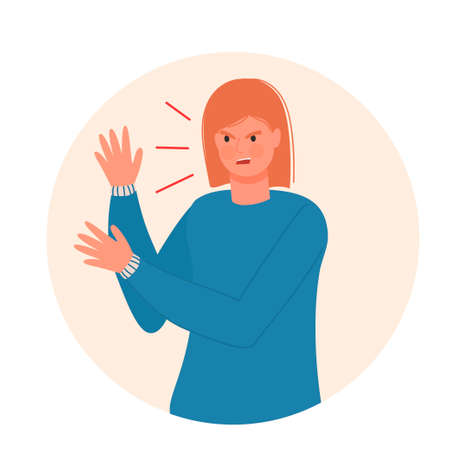 Outraged angry girl in flat modern style. Isolated on white background. Experiencing negative emotions. Anger. Disappointment. For your design.