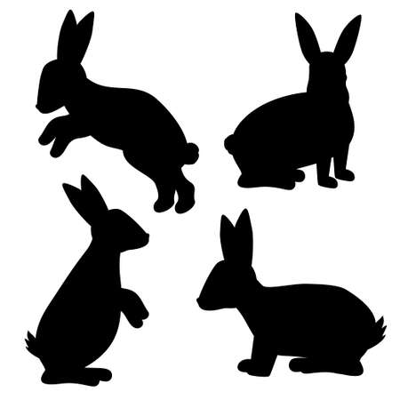 Silhouette of a rabbit. Vector illustration. Rabbit icon isolated on white background. For your design. 矢量图像