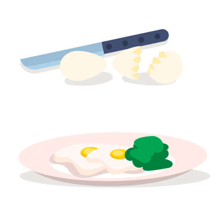 Egg icon, cooked scrambled eggs. Healthy breakfast. Vector illustration in modern flat style. The object is isolated on a white background.