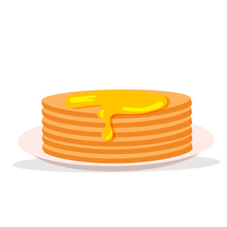 Pancakes with honey. Healthy breakfast. Vector illustration in modern flat style. Icon isolated on white background. 矢量图像