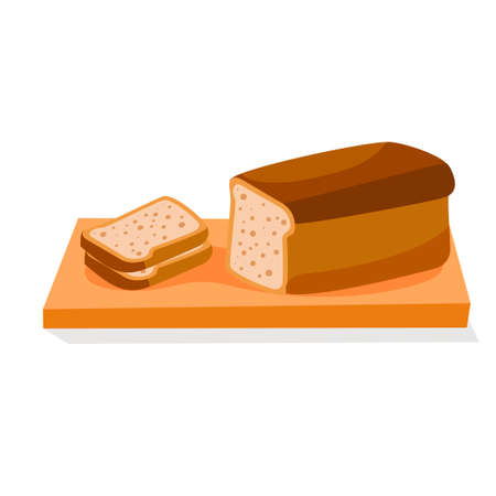 Sliced bread. Healthy breakfast. Vector illustration in modern flat style. Icon isolated on white background.