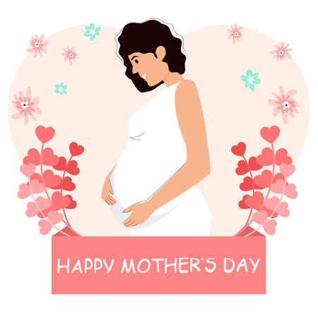 Greeting card. Happy Mothers Day. Pregnant woman. Vector illustration with character.